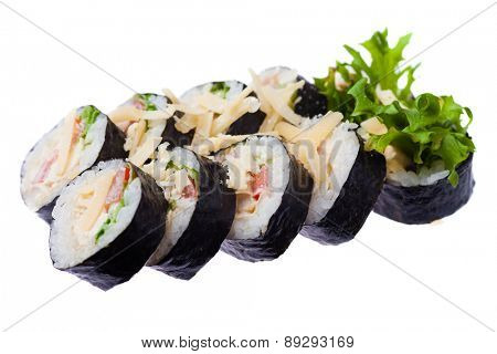 Fried chicken, cheese, salad, tomato, japanese bread brunch and caesar sauce rolls isolated on white background