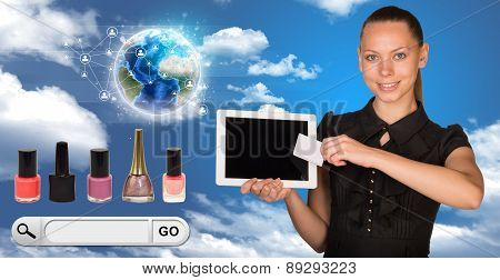 Businesswoman with search field