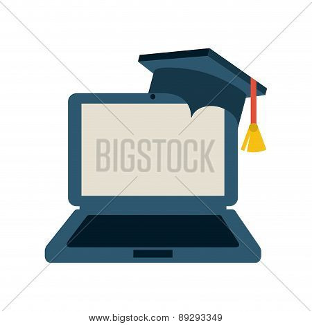 Graduation design over gray backgrorund vector illustration