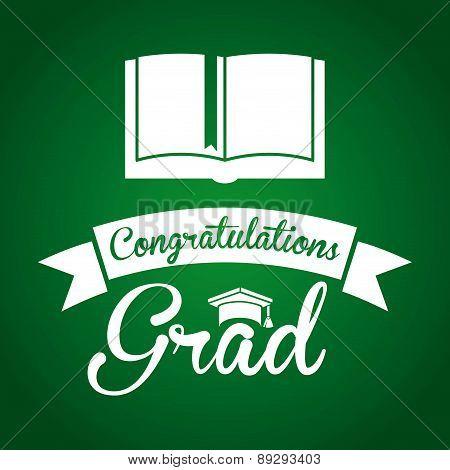 Graduation design over green backgrorund vector illustration
