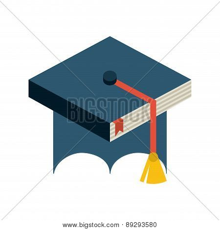 Graduation design over white backgrorund vector illustration