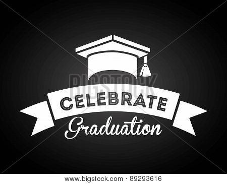 Graduation design over black backgrorund vector illustration