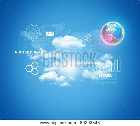 Colorful earth on abstract blue background