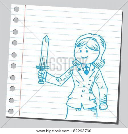 Businesswoman holding sword