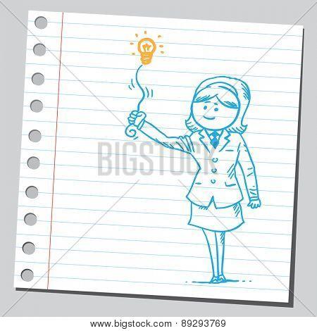 Businesswoman with lightbulb (idea concept)