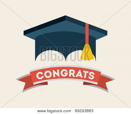 Graduation design over beige backgrorund vector illustration