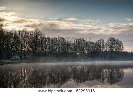 Empty Bench Trees Lake Morning