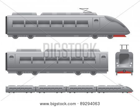 Grey Passenger train Isolated vector illustration