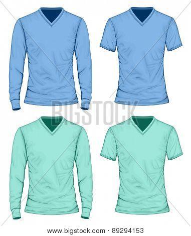 Men's t-shirt long and short sleeve. Vector illustration.