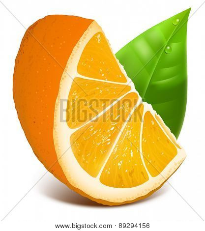 Orange slice  with leaves. Vector illustration.