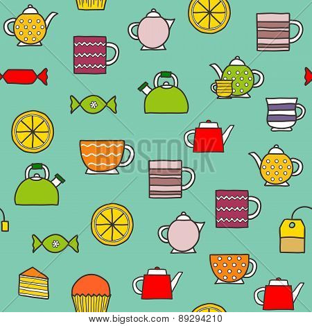 Seamless hand drawn teatime background
