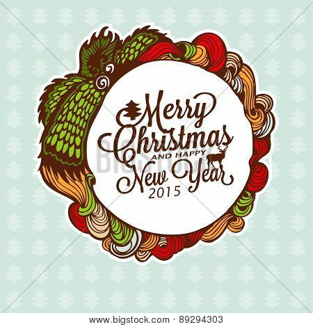 Christmas doodle wreath with gifts. Vector Illustration