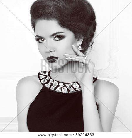 Beauty Retro Model Woman Wearing In Dress With Gemstones. Attractive Elegant Lady Portrait. Makeup.