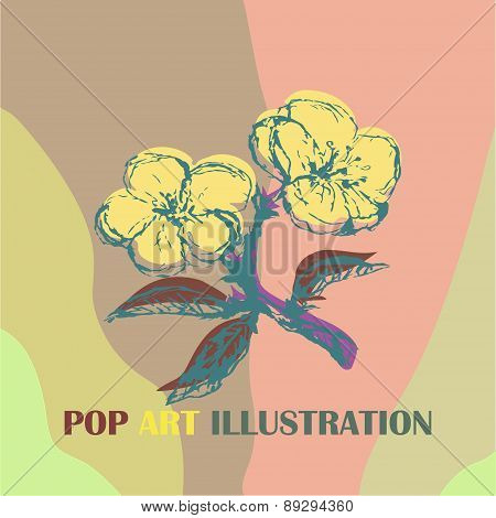 Illustration with stylization apple twig