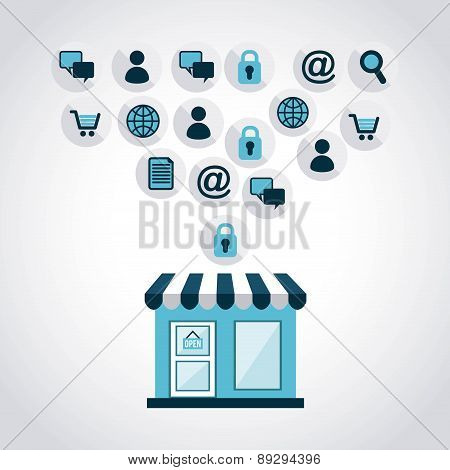 Shopping design over gray background vector illustration