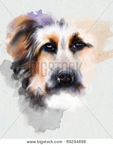 Animal collection: portrait of a sad dog on a white background, watercolor illustration