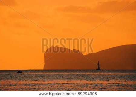 Orange Sunset Over Capo Caccia