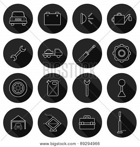 Set of thin car repair icons