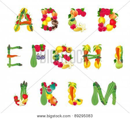 Alphabet composed by fruits and vegetables, first part. Vector isolated elements.