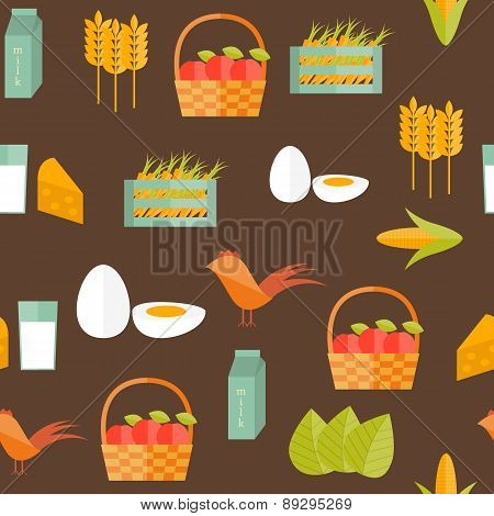 Seamless background with flat objects on farm products theme