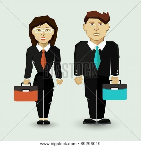 Businessman and Businesswoman in Suit.