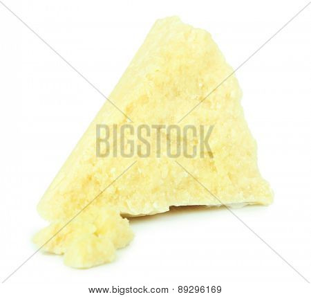 Piece of cheese isolated on white
