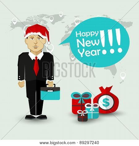 Happy New Year Wishes of Businessman