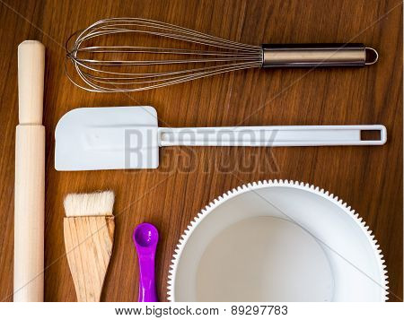 Bakery tools on table top