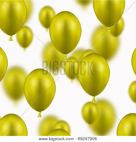 Vector modern yellow balloons on white