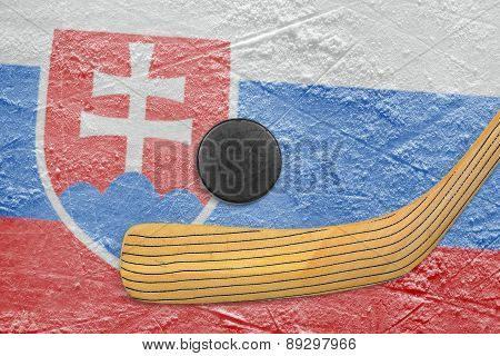 Hockey Puck, Stick And Slovak Flag