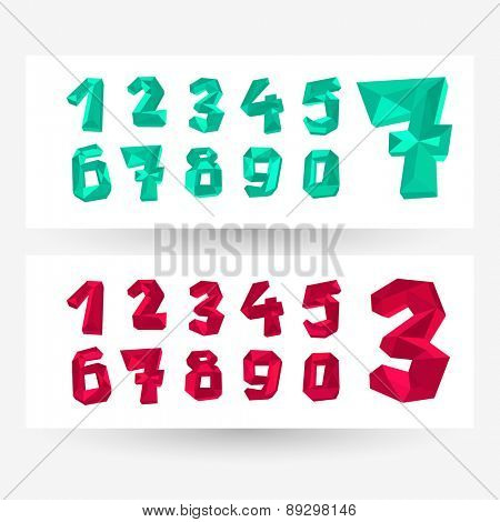Low poly crystal numbers set, geometric vector typography.