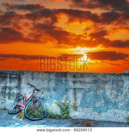 Bike Wreck At Sunset
