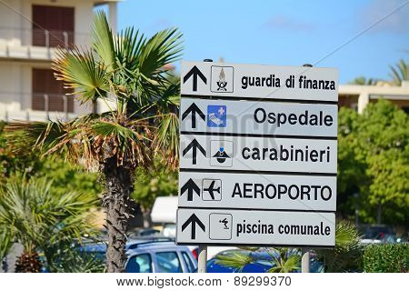 Direction Sign In Italy