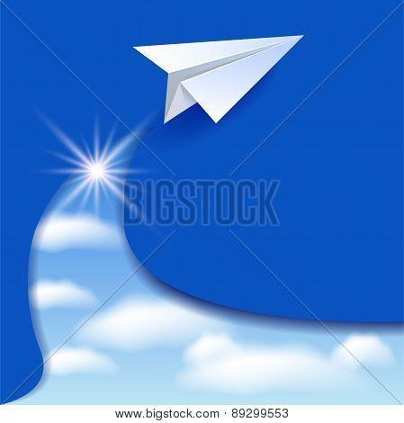 Paper Airplane And Clouds Sky