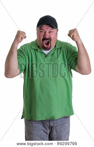 Man Wearing Green Shirt Celebrating