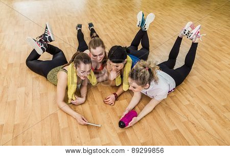 Group Of Girls In Fitness Class At The Break