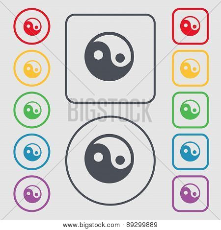 Ying Yang Icon Sign. Symbol On The Round And Square Buttons With Frame. Vector
