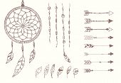 pic of dream-catcher  - Hand drawn native american feathers dream catcher beads and arrows vector illustration - JPG