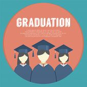 picture of graduation gown  - Group of Students In Graduation Gown And Mortarboard Vector Illustration - JPG