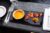 picture of sea-buckthorn  - Creme brulee with strawberry foam and sea buckthorn sorbet  - JPG