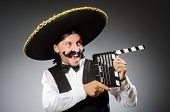image of sombrero  - Mexican man wears sombrero isolated on white - JPG
