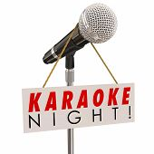 picture of karaoke  - Karaoke Night words on a sign advertising a fun event or party of singing songs and entertainment - JPG
