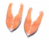 stock photo of salmon steak  - Two fresh salmon steaks - JPG
