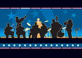 picture of jive  - The orchestra plays jazz on the illuminated stage - JPG