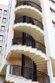 picture of spiral staircase  - Spiral staircase on the outside facade of the house - JPG