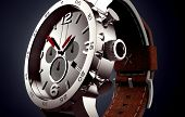 picture of watch  - wrist watch with leder band isolated on black - JPG