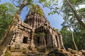 foto of hindu  - Hindu sanctuary situated name Ta Krabey stone castle under sunlight - JPG