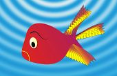 picture of game-fish  - illustration aquarium and single fish with flame spectrum - JPG