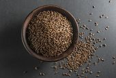 stock photo of flax seed oil  - Bowl full of flax seed  - JPG
