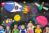 stock photo of outerspace  - Planets Aircraft Drawing Earth Launch Concept - JPG